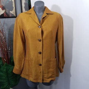 Vintage Button Up Blazer Top Tan Size 6
